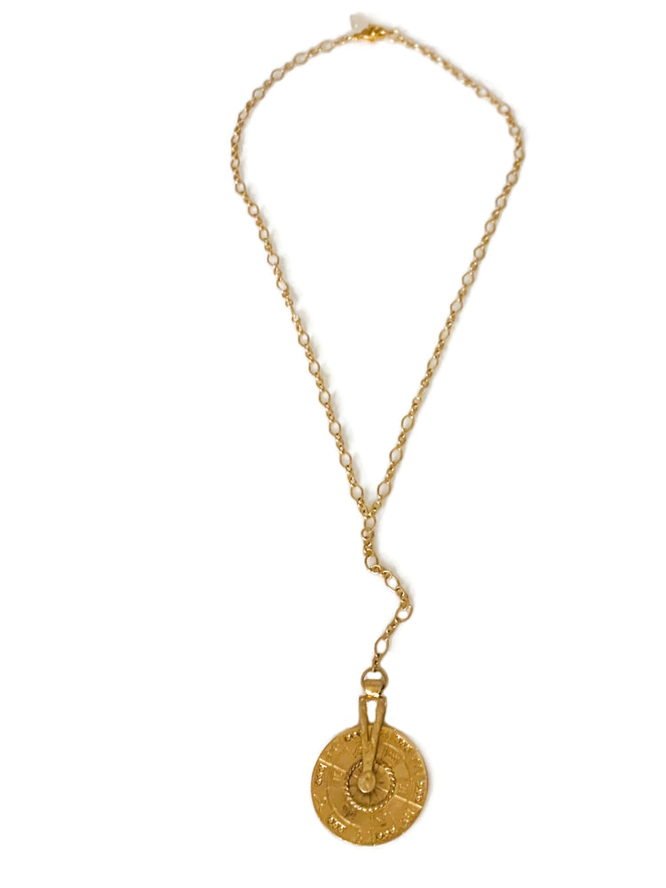 Gold Sundial Y-Necklace