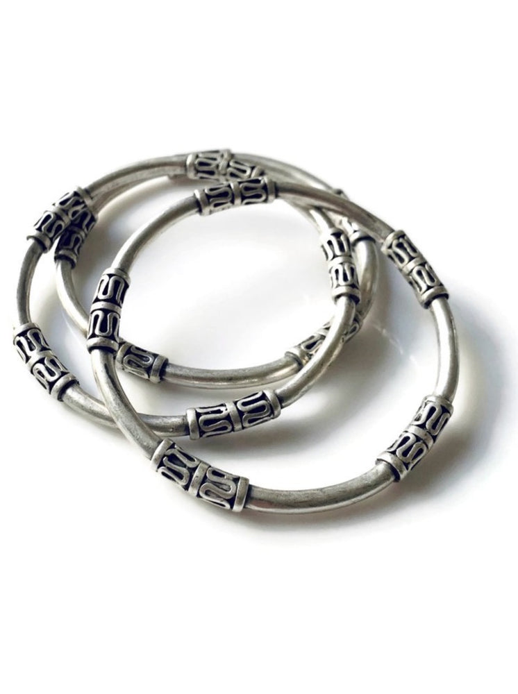 Silver Tribal Metal Bangle