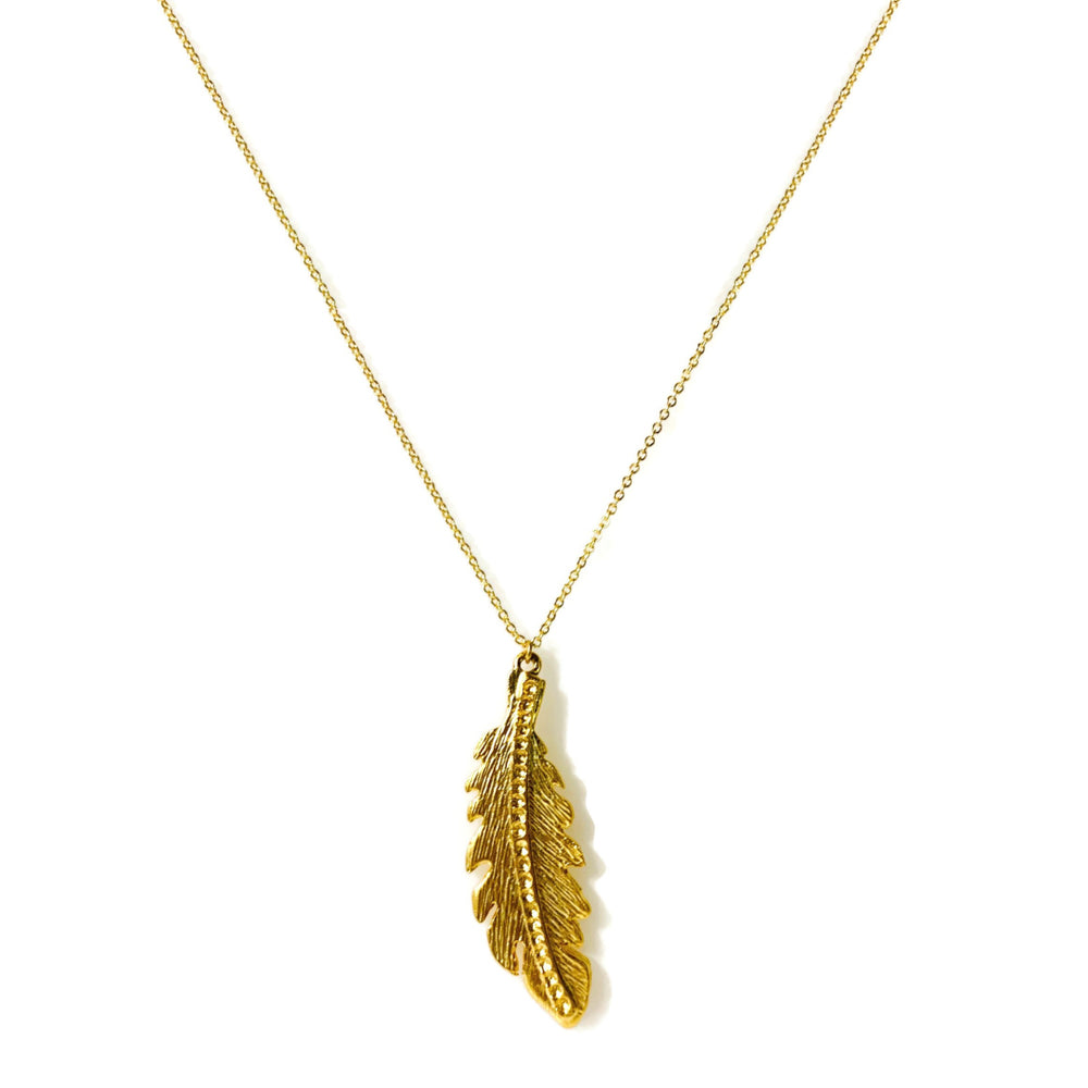 Angel Feather 22k Gold Pendant Necklace