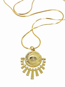 Cosmos Evil Eye 24k Gold Necklace
