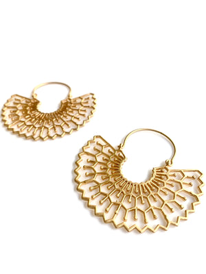 Gold Tribal Fan Earrings