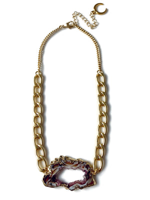 Gold Chunky Chain Geode Slice Necklace