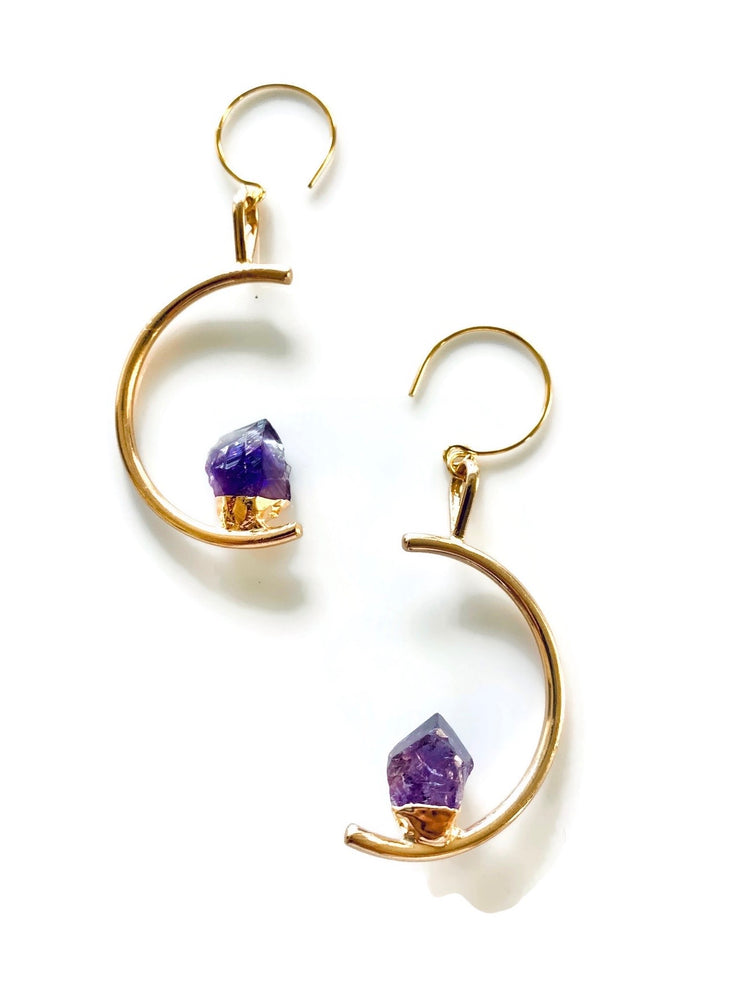 Amethyst Crystal Half-Moon Earrings