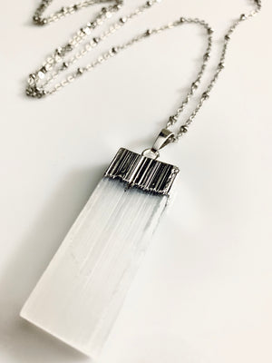 Selenite Crystal Silver Necklace