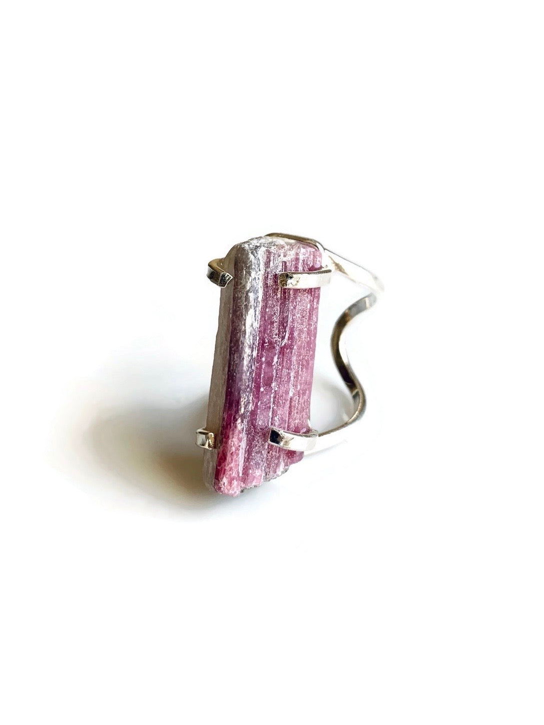 Pink Tourmaline Silver Adjustable Ring