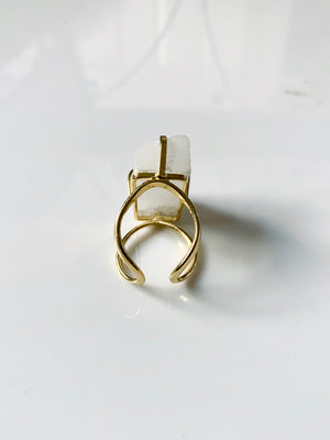 Selenite Crystal Gold Adjustable Ring