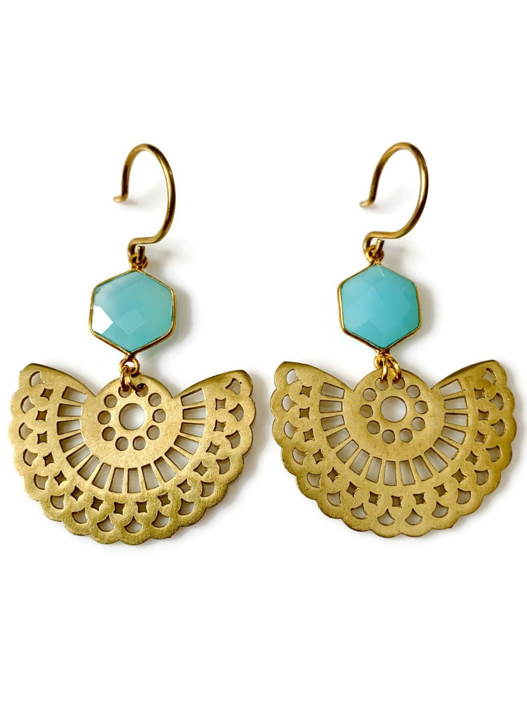 Chalcedony Fan Earrings
