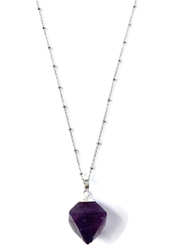 Silver Purple Amethyst Crystal Cube Necklace