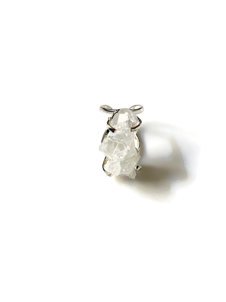 Crystal Quartz Cluster Silver Adjustable Ring