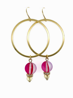 Mystic Cherry Quartz Drop Hoops