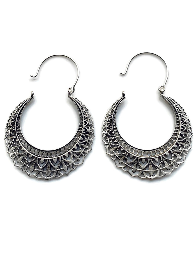 Silver Bohemian Filigree Hoops