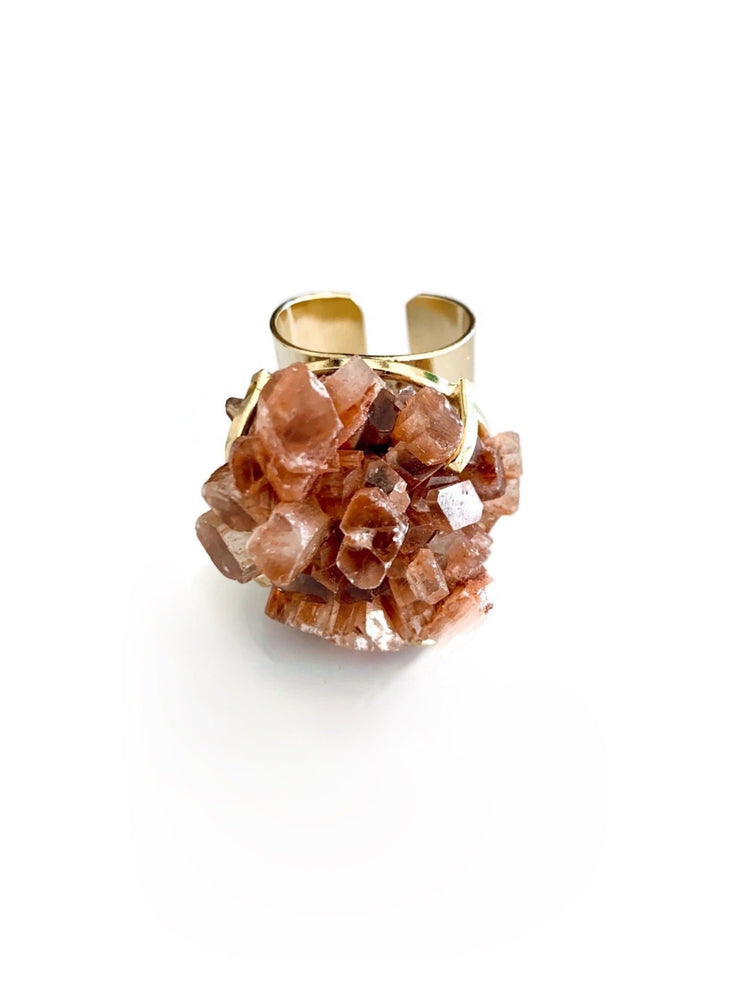 Aragonite Crystal Cluster Gold Adjustable Ring
