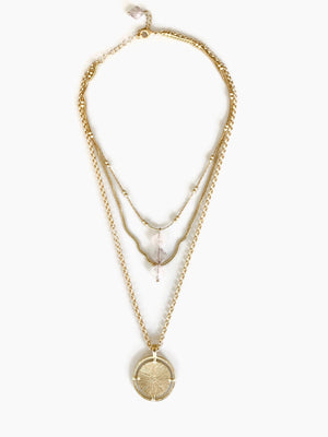 Rose Quartz Crystal Three Layered Gold Necklace