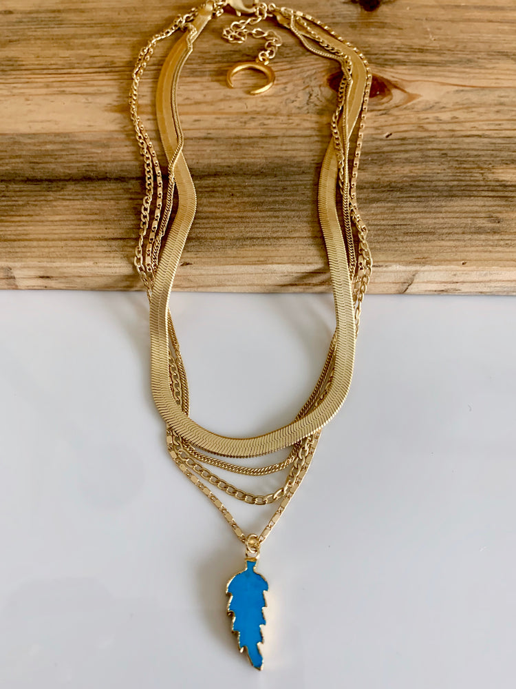 Gold Layered Chain Turquoise Leaf Necklace