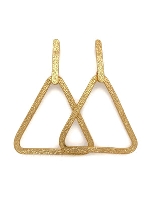 22k Gold Triangle Post Drop Earrings