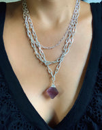 Amethyst Silver Layer Chain Necklace