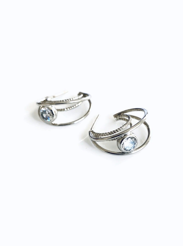 Awaken Rhinestone Eye Huggie Hoops