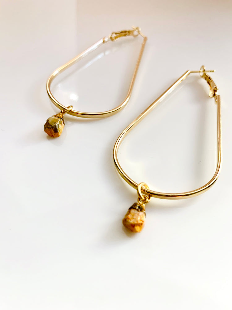 Teardrop Hoop & Stone Earrings - Gold