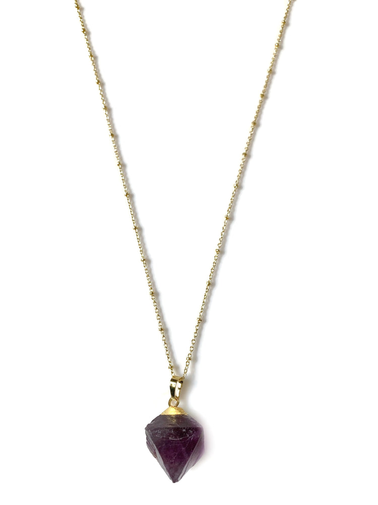 18k Gold Purple Amethyst Crystal Cube Necklace