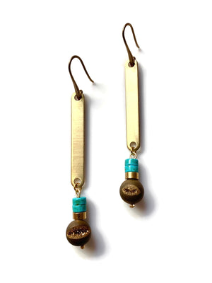 Saturn Agate & Turquoise Dangle Earrings