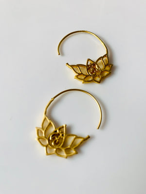 Small Gold Lotus Flower Earrings