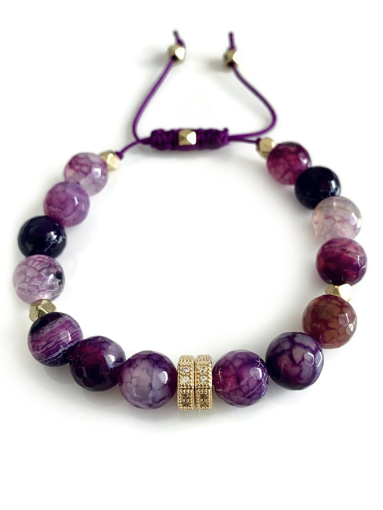 Signature Slider Bracelet - Gold/Purple Agate