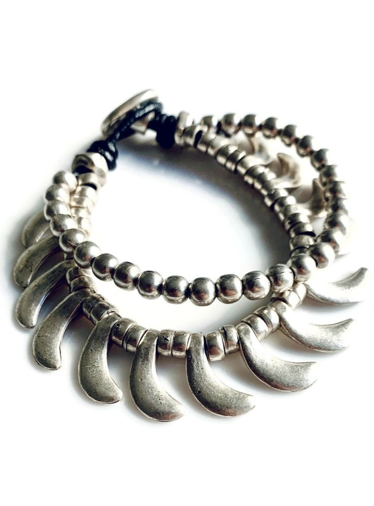Silver Beaded Double Fan Bracelet