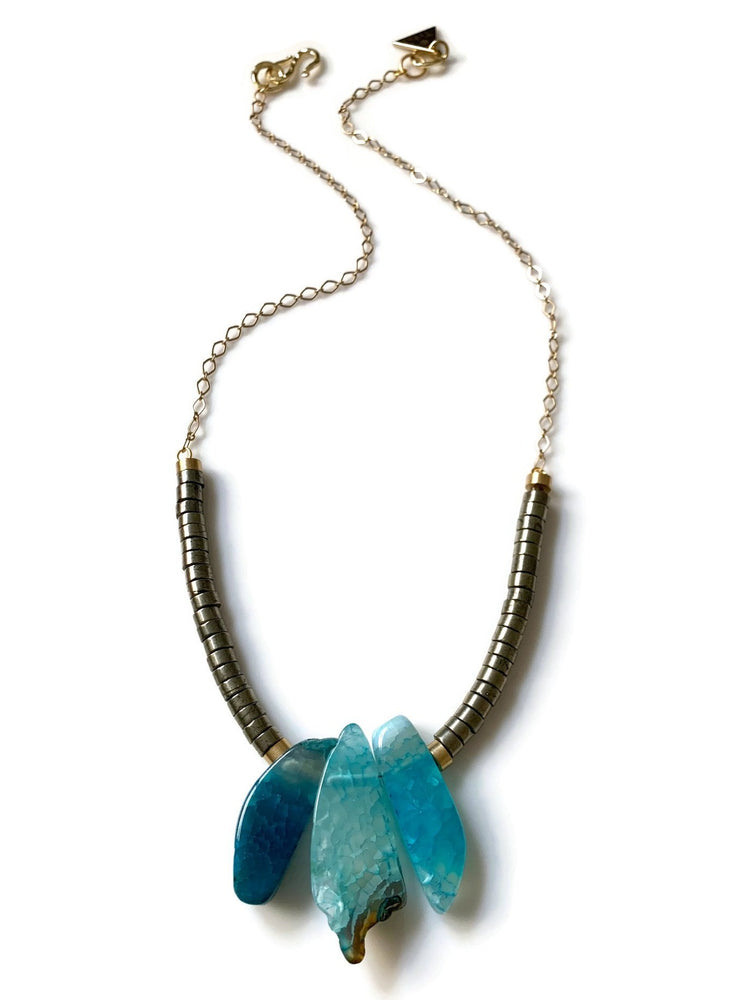 Triumph Blue Agate & Pyrite Beaded Necklace