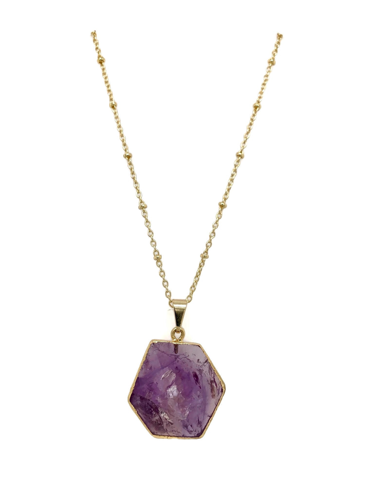 18k Gold Purple Amethyst Pyramid Necklace