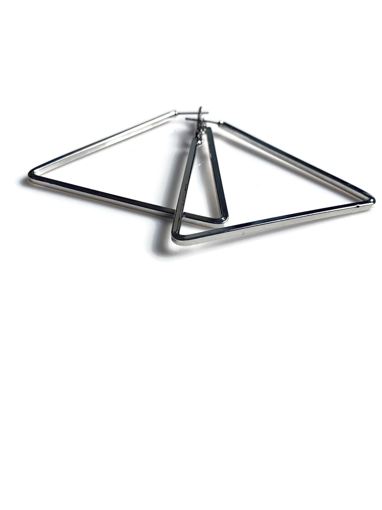 The Perfect Silver Triangle Hoops