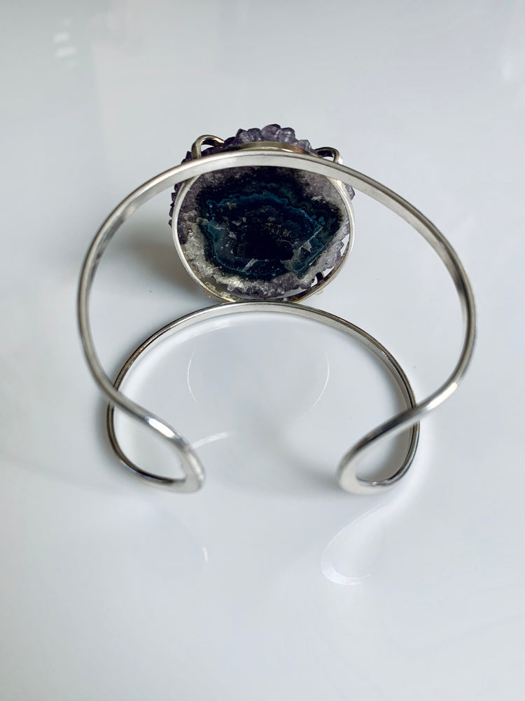 Purple Amethyst Stalactite Silver Adjustable Cuff
