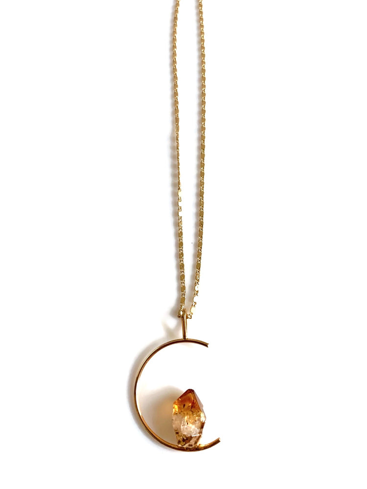 Half Moon Stone Necklace - Quartz or Citrine