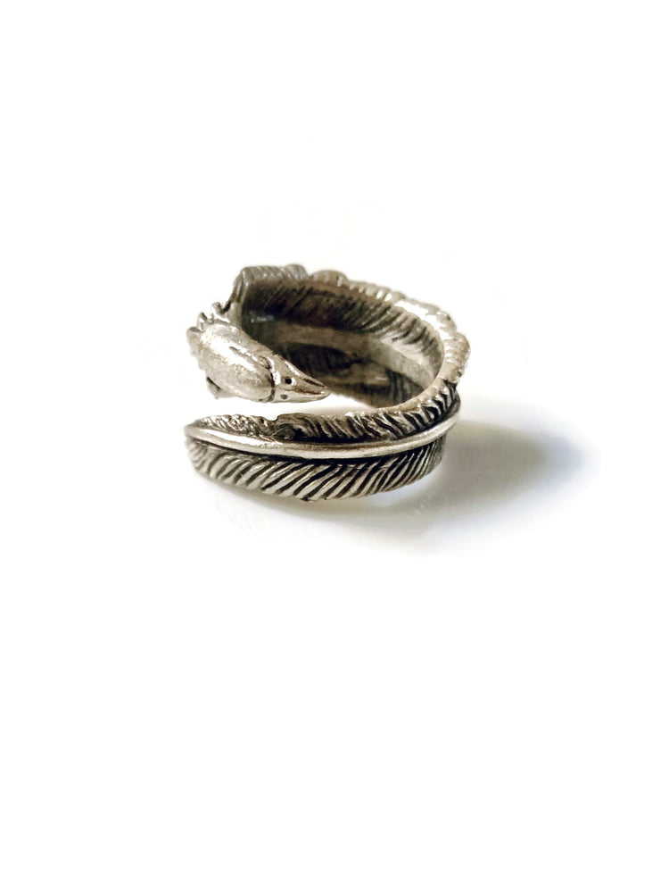 Silver Eagle Feather Wrap Adjustable Ring