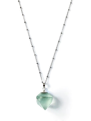 Silver Green Fluorite Crystal Cube Necklace