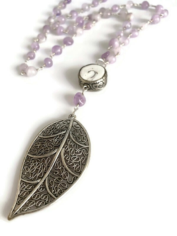 Purple Amethyst Conch Bead & Leaf Necklace