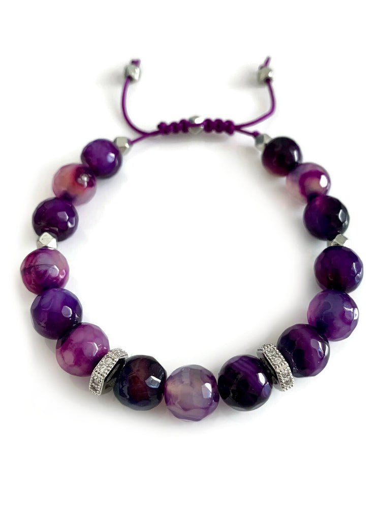 Signature Slider Bracelet - Silver/Purple Agate