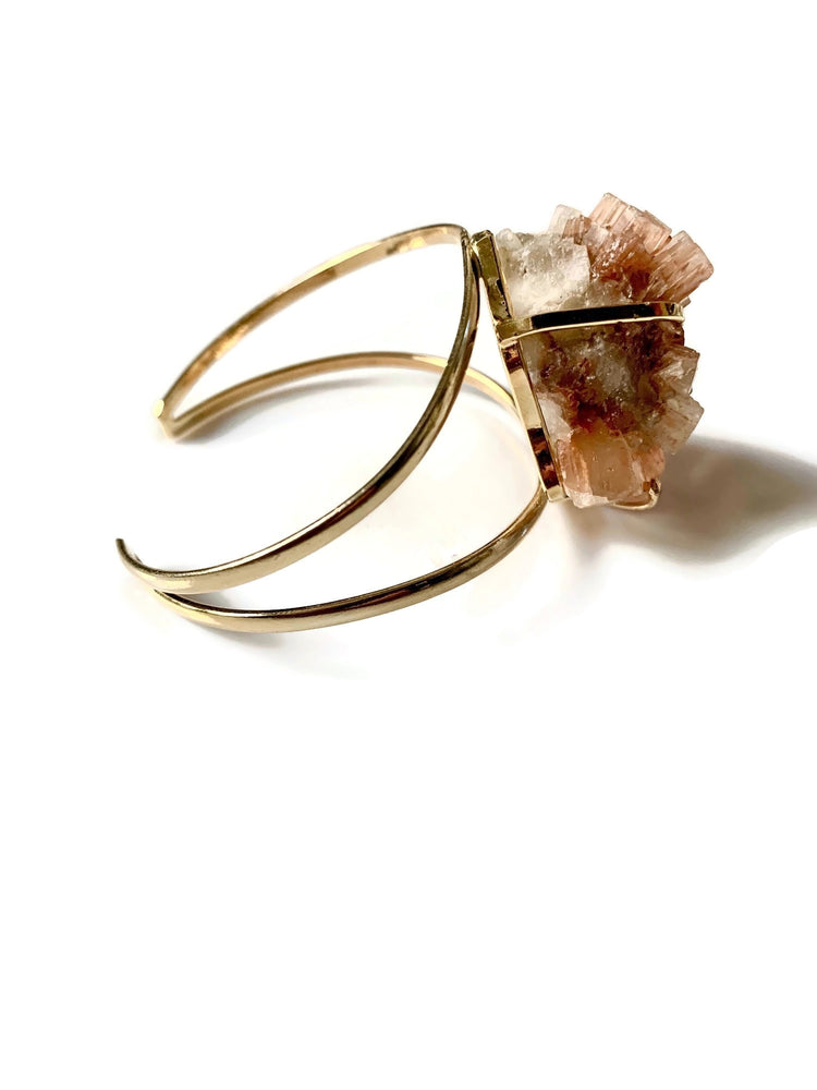 Aragonite Crystal Cluster Gold Adjustable Cuff