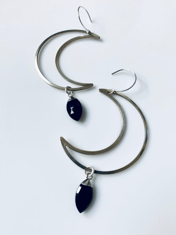 Silver To The Moon Earrings - Black Onyx