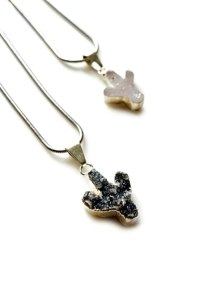 Silver Mini Crystal Druzy Cactus Necklace