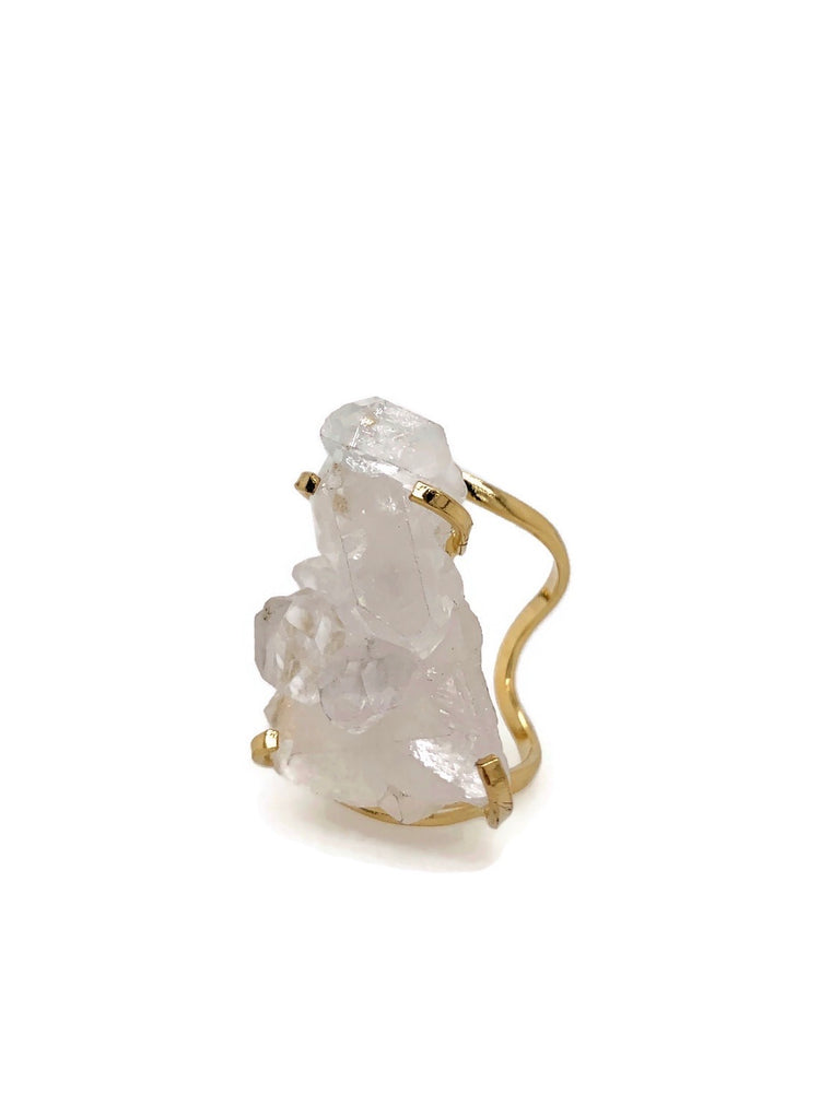 Crystal Quartz Cluster Gold Adjustable Ring