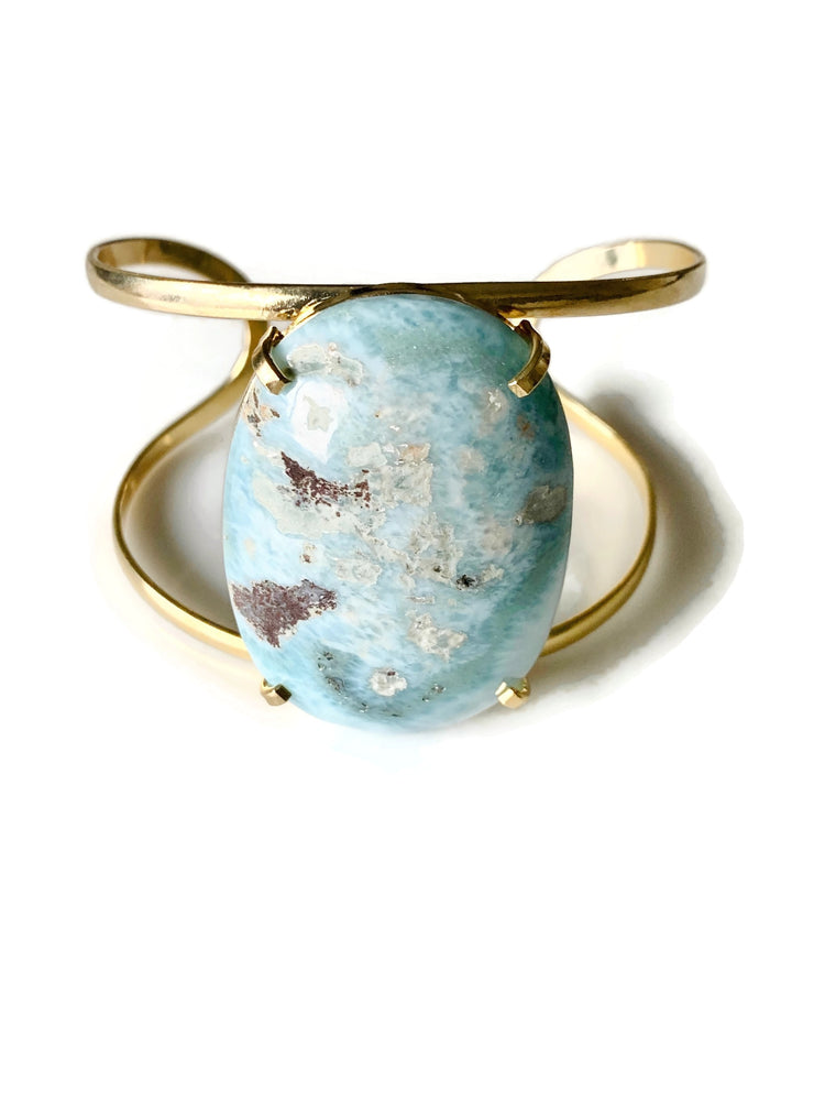 Larimar Crystal Gold Adjustable Cuff