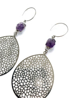 Load image into Gallery viewer, Silver Woven Amethyst Earrings