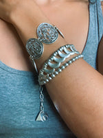 Silver Oval Linked Filigree Adjustable Bracelet