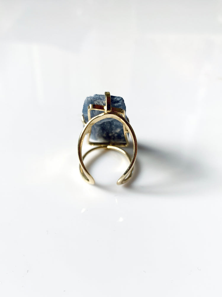 Kyanite Gold Adjustable Ring