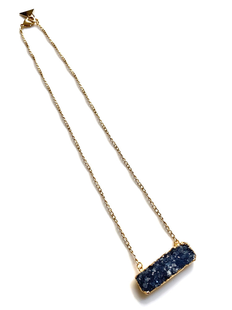 Blue Druzy Bar Necklace