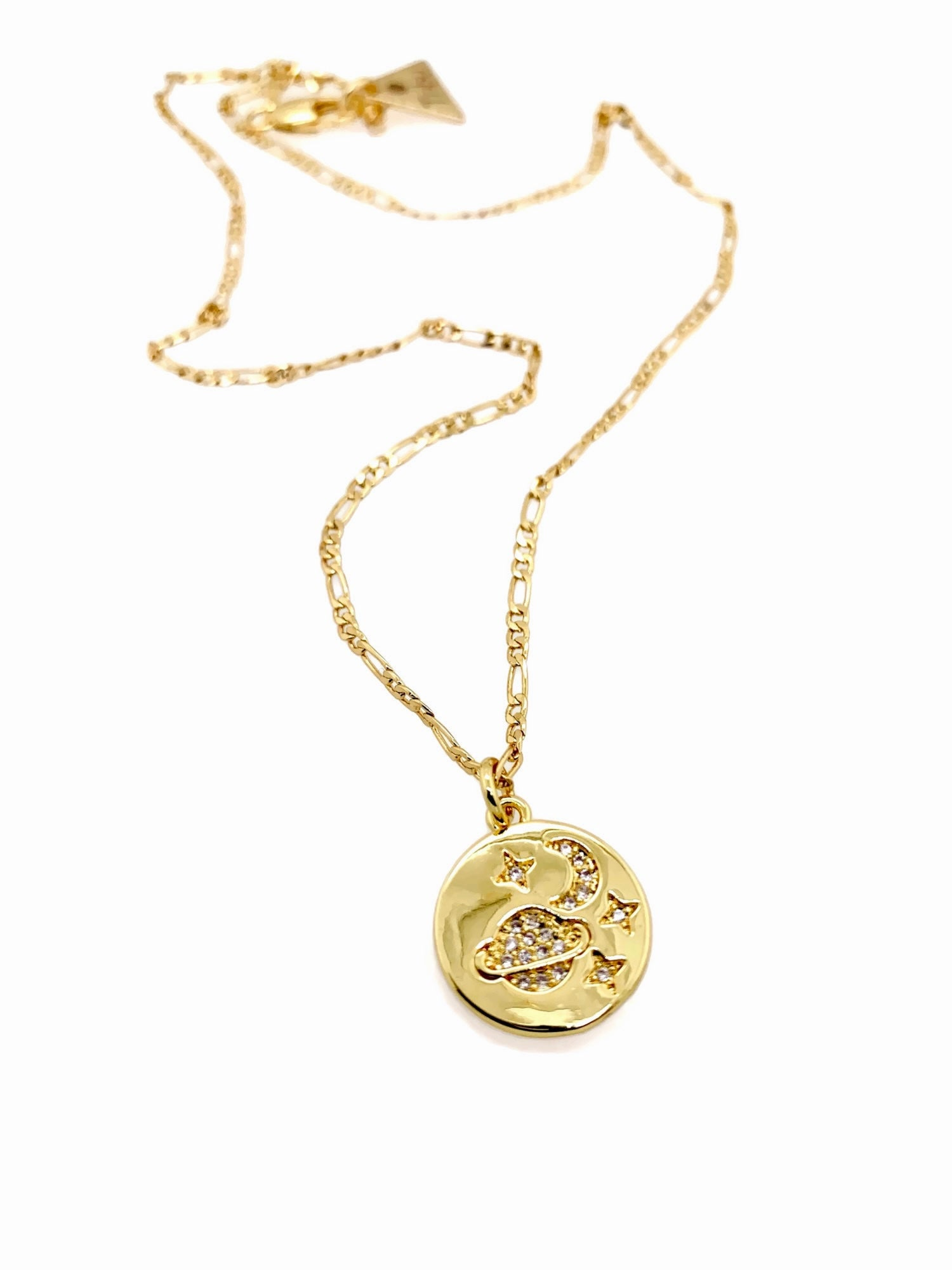 Moon, Earth & Stars 14k Gold Necklace