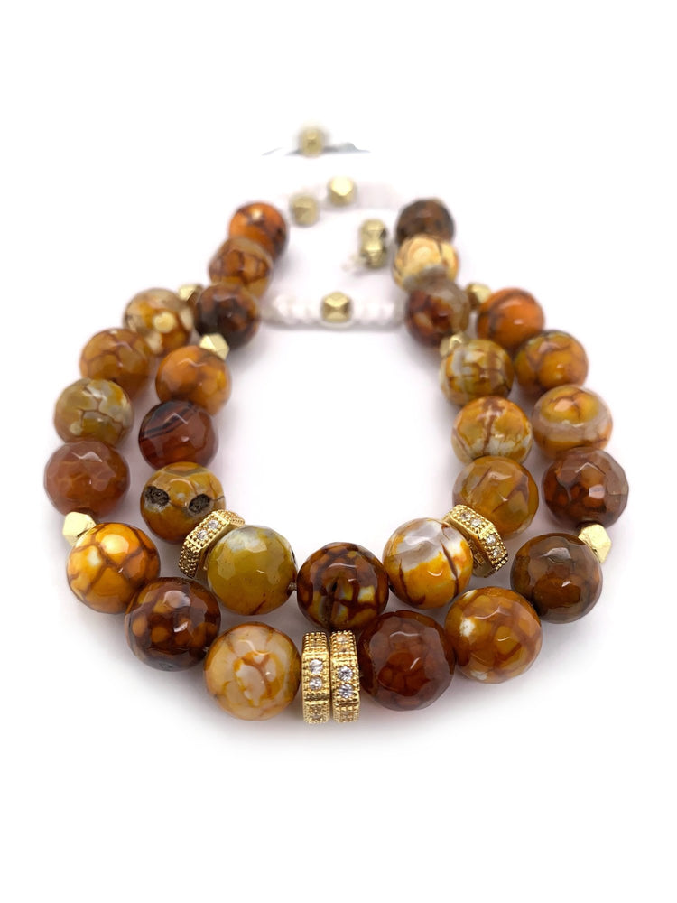 Signature Slider Bracelet - Gold/Fire Agate