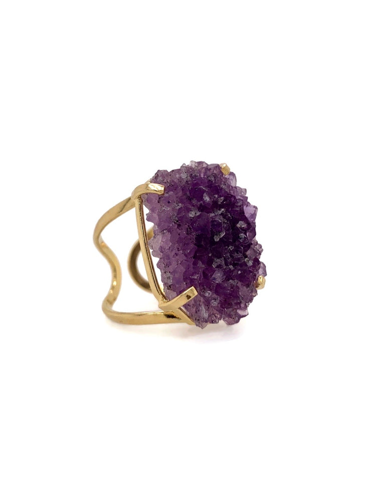 Purple Amethyst Stalactite Gold Adjustable Ring