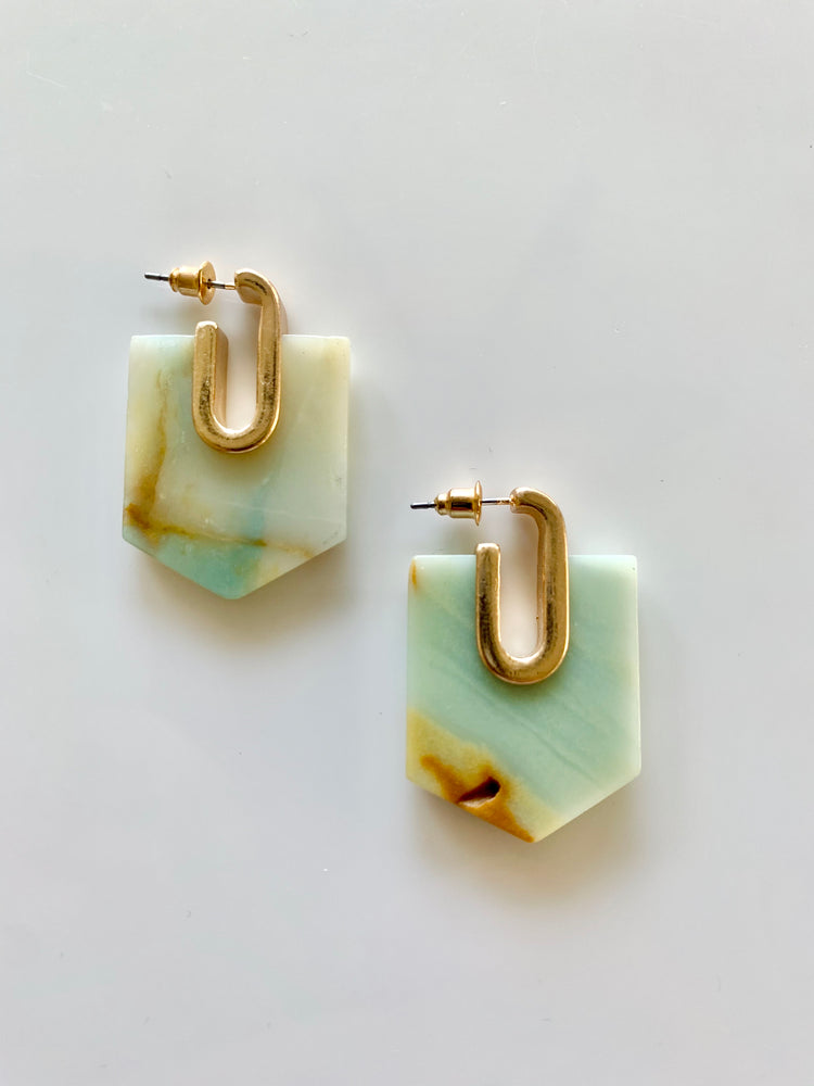 Hex Amazonite Earrings