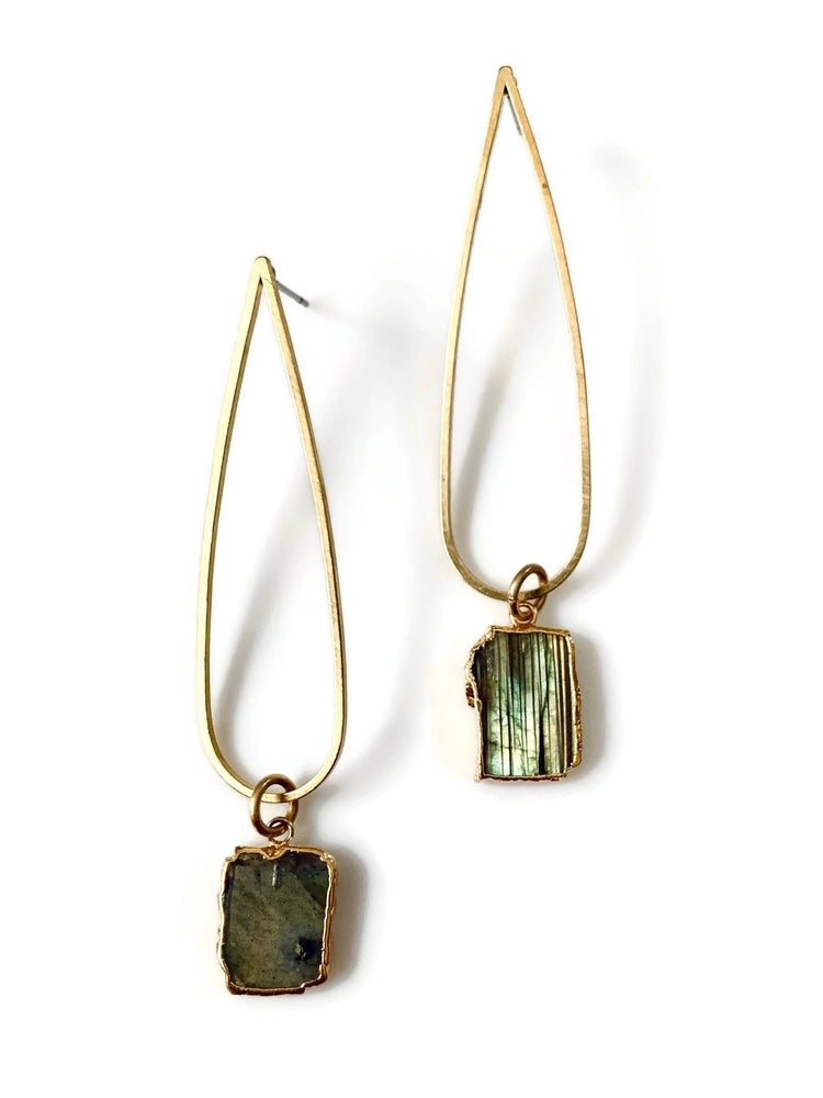 Golden Tear Labradorite Post Earrings